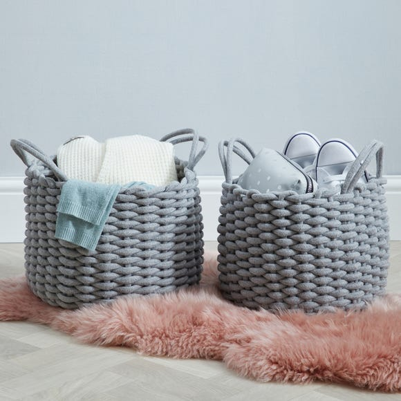Set of 2 Round Knitted Grey Storage Baskets