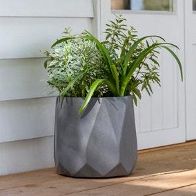 Fibre Clay Geometric Grey Planter