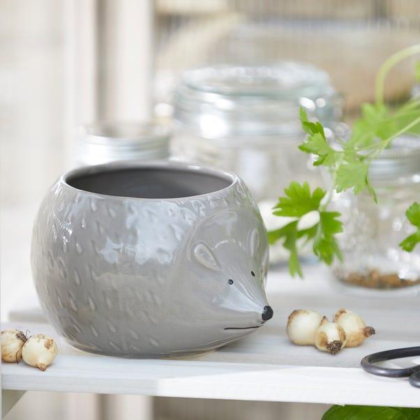 Grey Hedgehog Planter Grey
