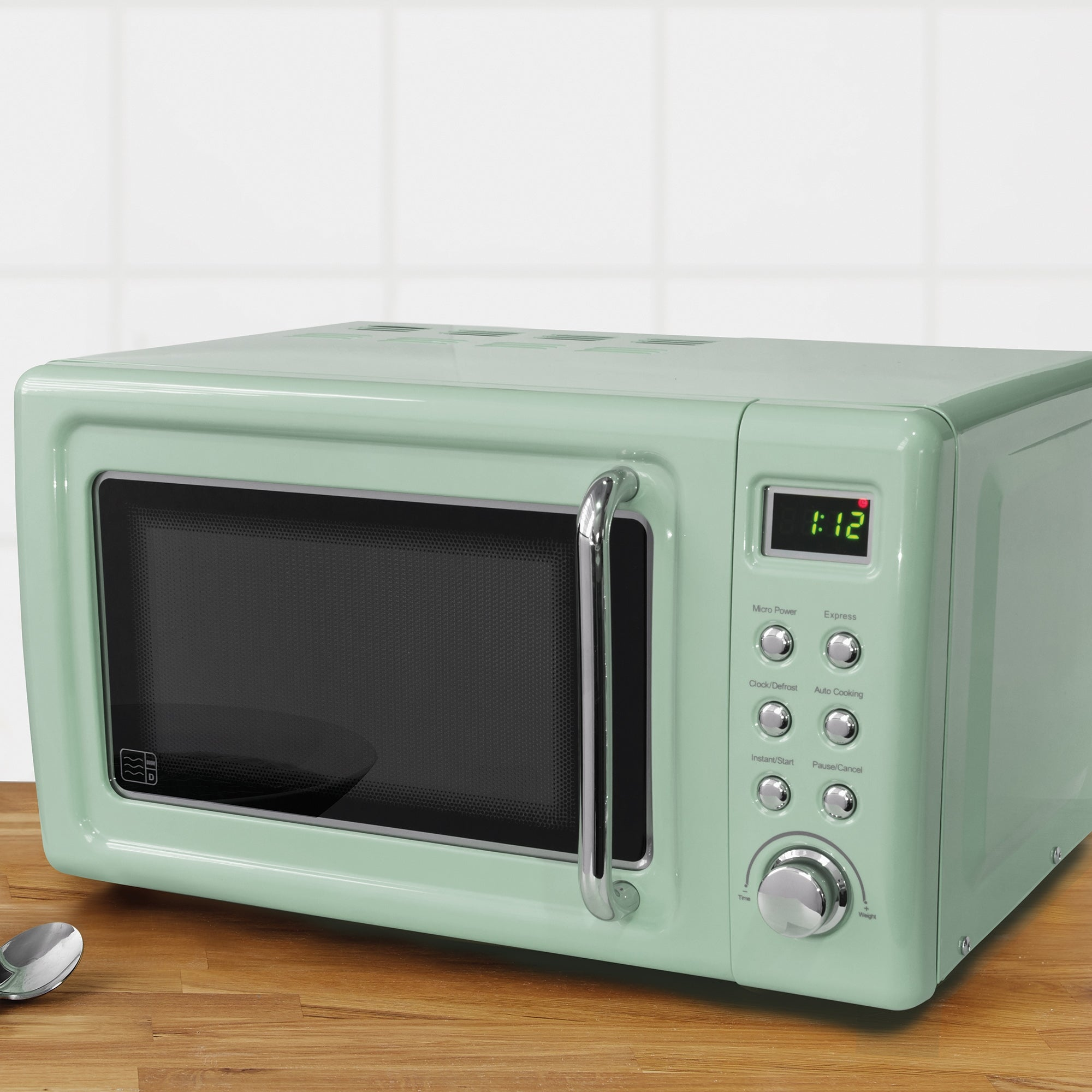 Click to view product details and reviews for Retro 20l 800w Microwave Seafoam Green.