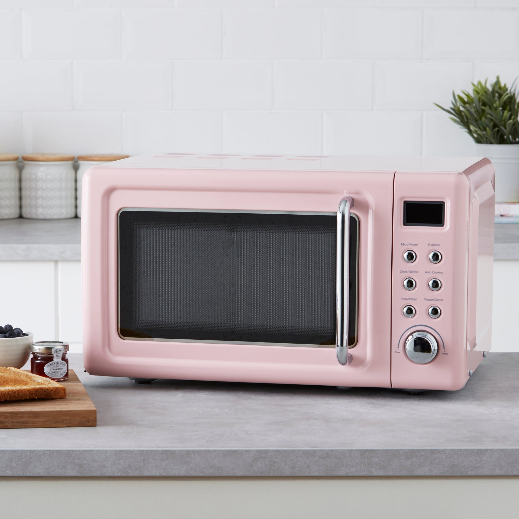 Retro 20L 800W Pink Digital Microwave Pink
