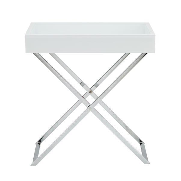 Bardoux Glass White Side Table White