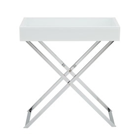 Bardoux Glass White Side Table