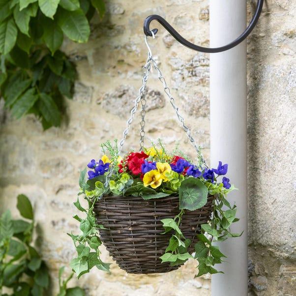 Artificial Flower Hanging Basket Multi-Coloured