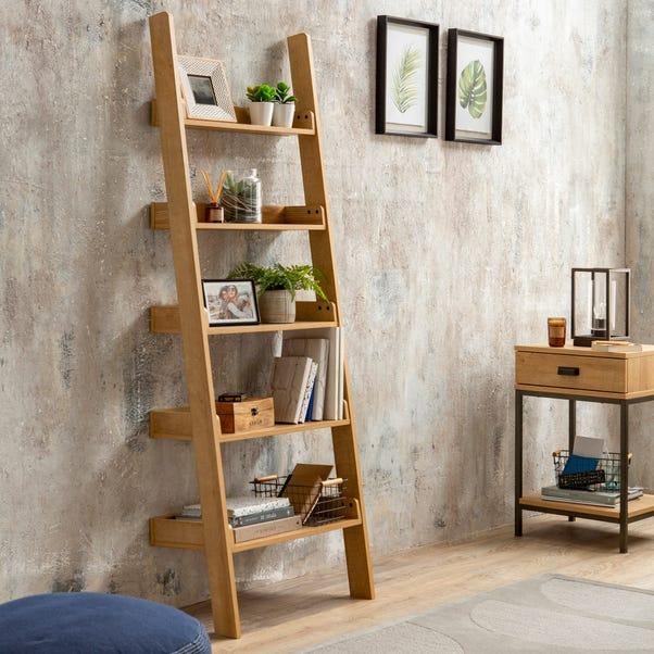 Fulton Oak Effect Ladder Bookcase Light Oak
