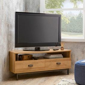 Fulton Oak Effect Corner TV Stand