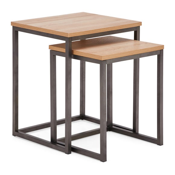 Fulton Oak Effect Square Nest of Tables Light Oak