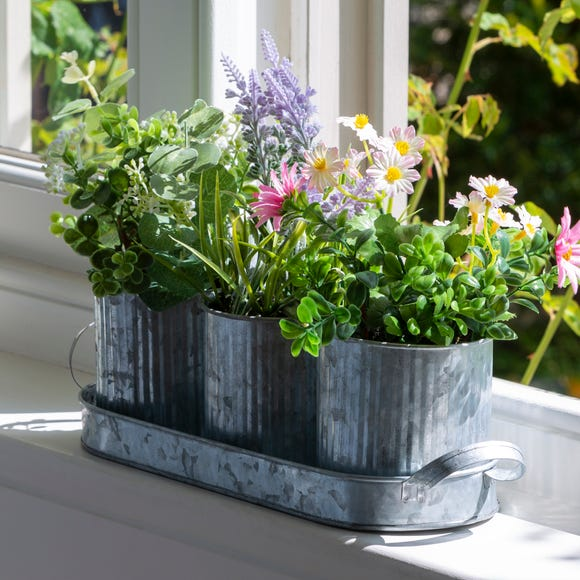 Trio of Potted Floral Topiary Multi-Coloured