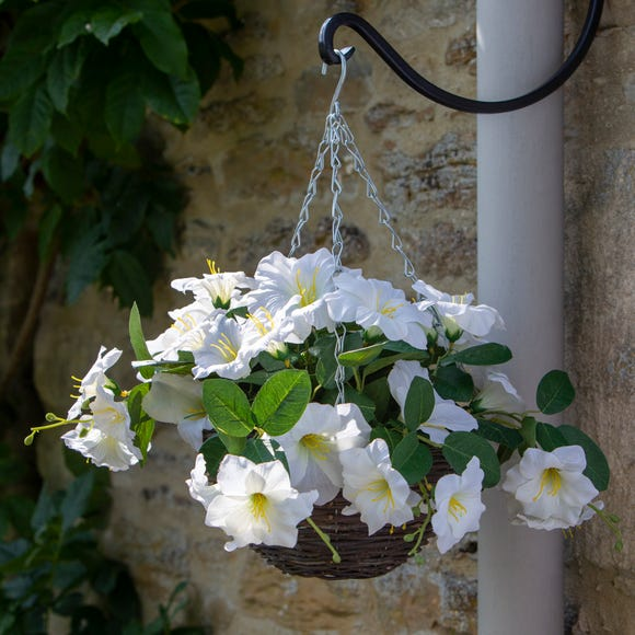 Artificial White Floral Hanging Basket Multi-Coloured