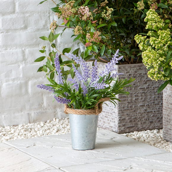 Artificial Lavender Plant with Rope Handles Green