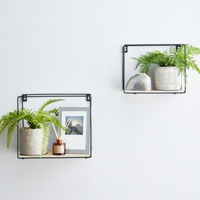 Set of 2 Metal Framed Black Wall Shelves