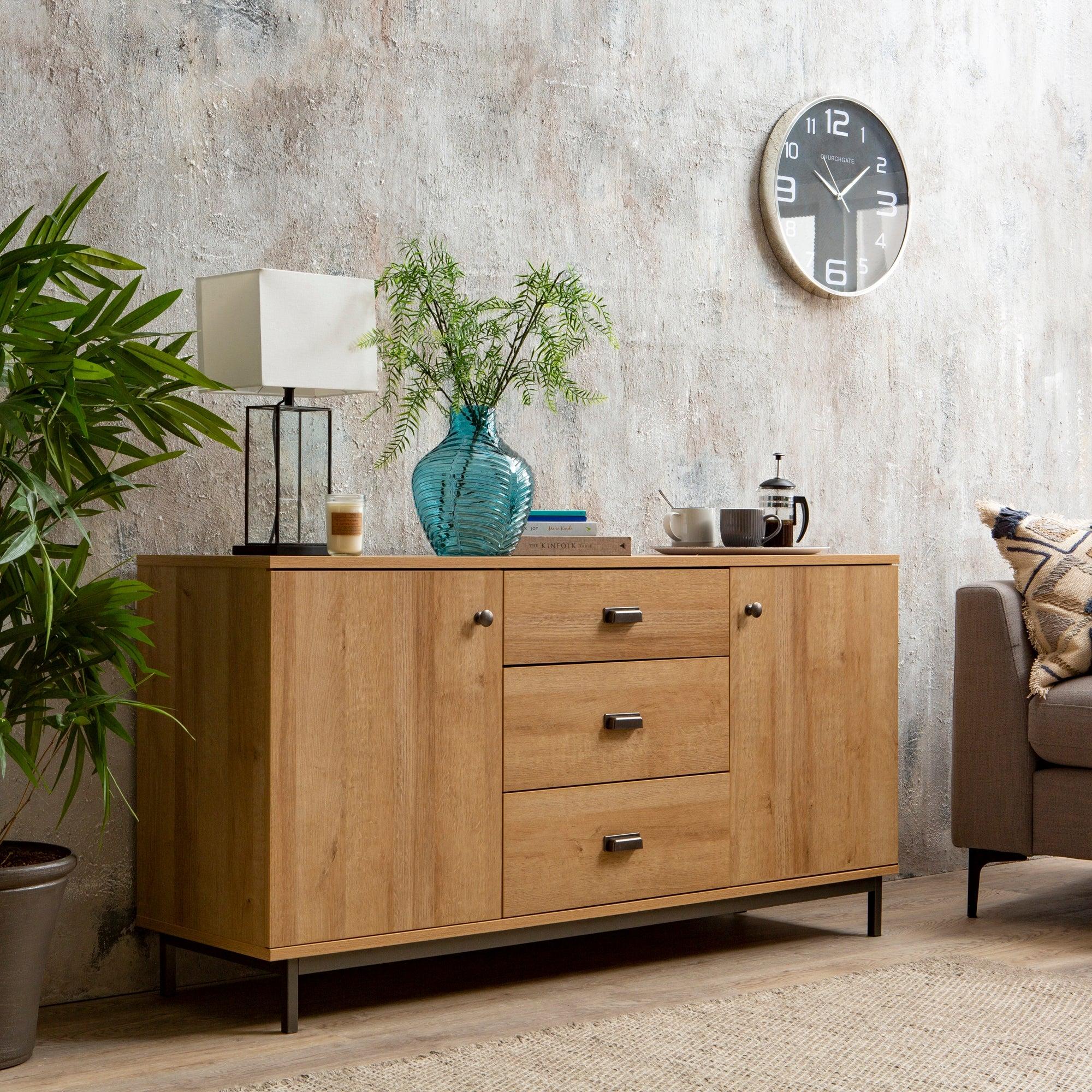 Fulton Oak Effect Large Sideboard Brown
