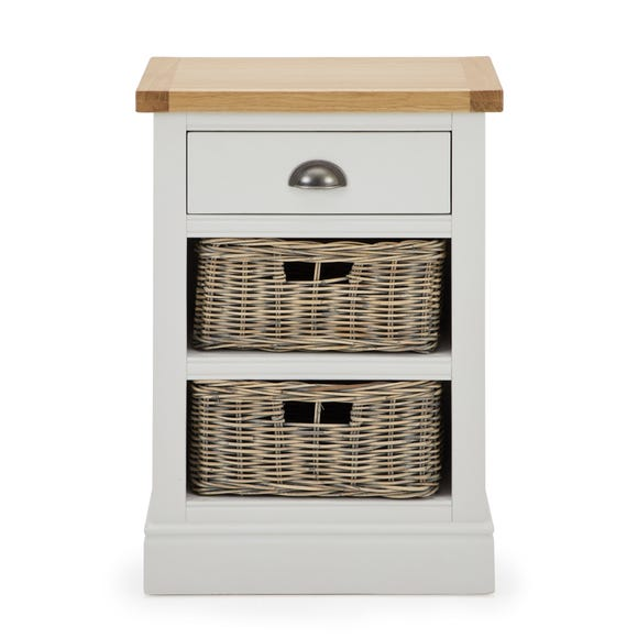 Compton Ivory Tall Side Table with Baskets Ivory