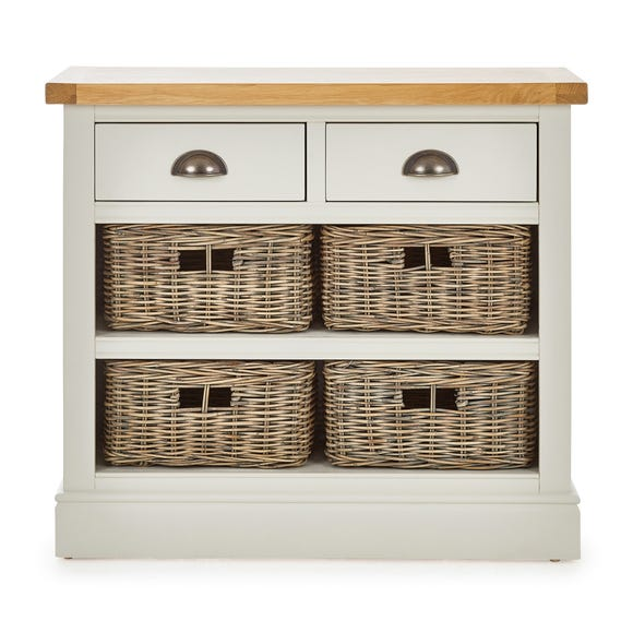 Compton Ivory Console Table with Baskets Ivory