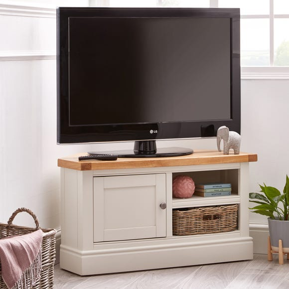 Compton Ivory Corner TV Stand with Baskets Ivory