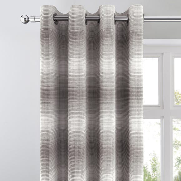 Cambridge Check Jacquard Grey Eyelet Curtains Grey undefined
