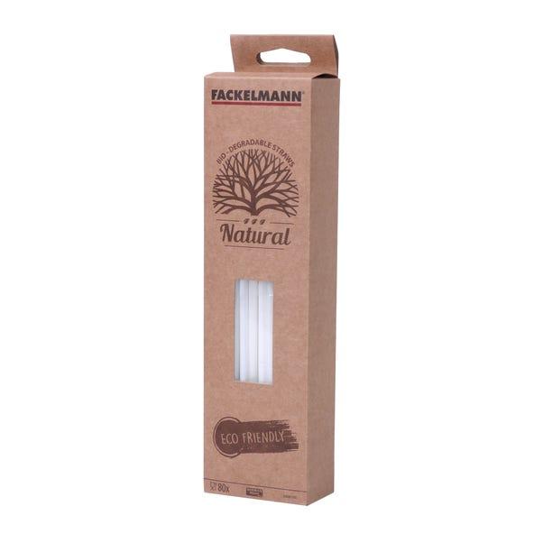 Fackelmann Bio-Degradable Flexible Straws 80 Pack White