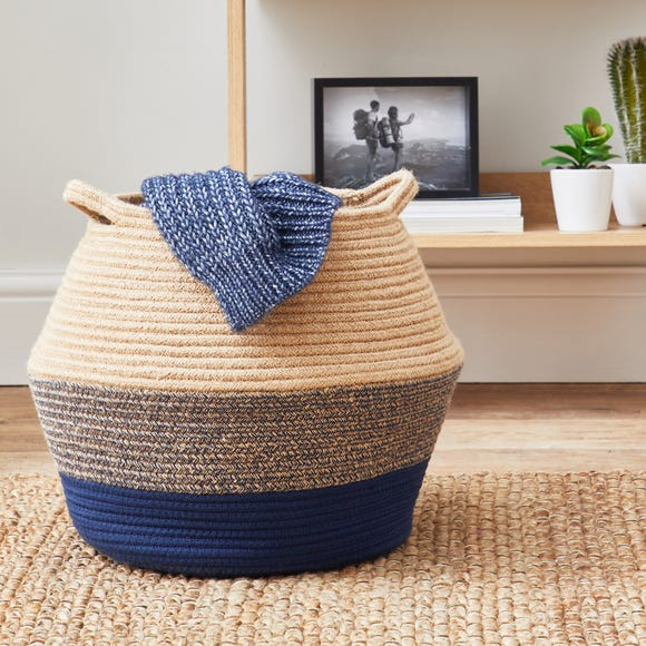 Navy Blue Rope Storage Basket Blue