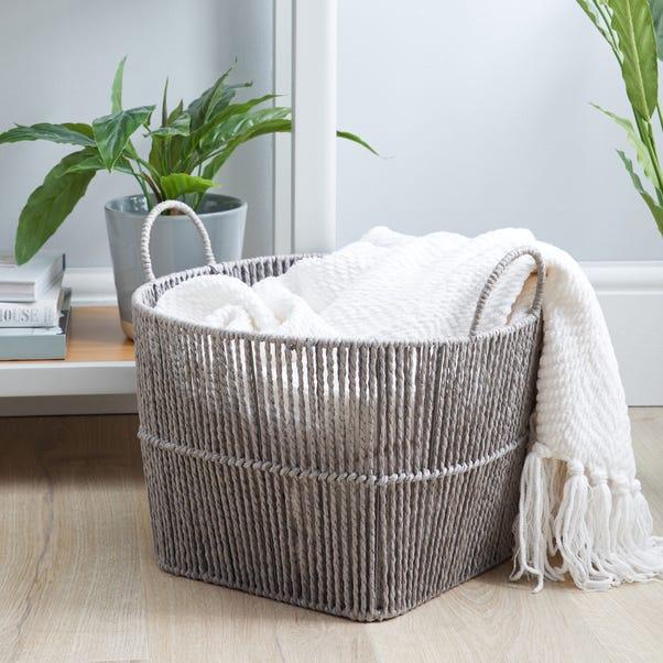 Large Grey Woven Storage Basket Grey
