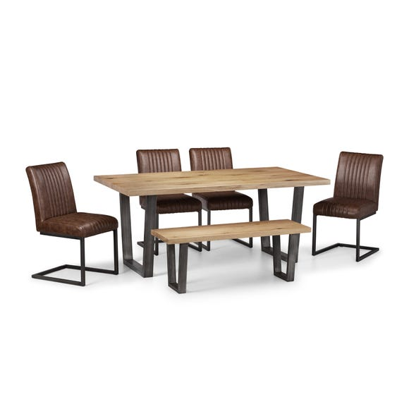 Brooklyn Oak Dining Table Set with 4 Chairs and Bench Oak (Brown)