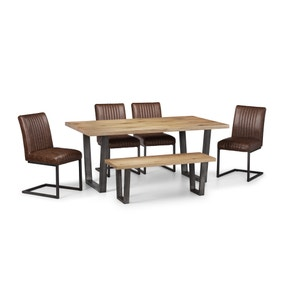 Brooklyn Oak Dining Table Set with 4 Chairs and Bench