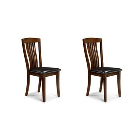 Canterbury Set of 2 Dining Chairs Brown PU Leather