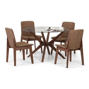 Chelsea Glass Dining Table with 4 Kensington Chairs