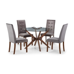 Chelsea Glass Dining Table with 4 Madrid Chairs