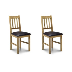 Coxmoor Set of 2 Dining Chairs Brown PU Leather