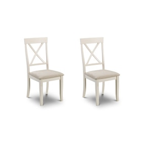 Davenport Set of 2 Dining Chairs Ivory Suede Effect