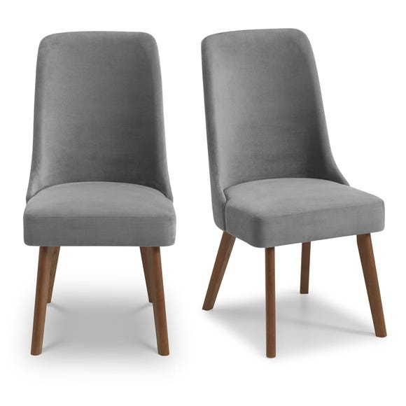 Huxley Set of 2 Dining Chairs Grey Chenille Grey