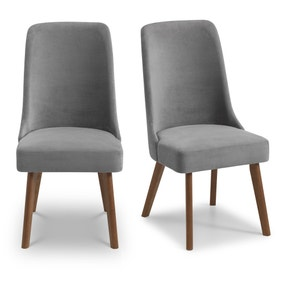 Huxley Set of 2 Dining Chairs Grey Chenille