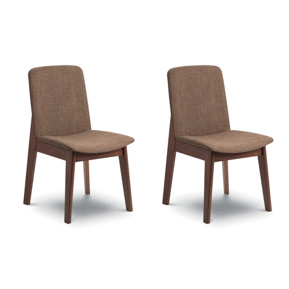 Kensington Set of 2 Dining Chairs Brown Linen Brown