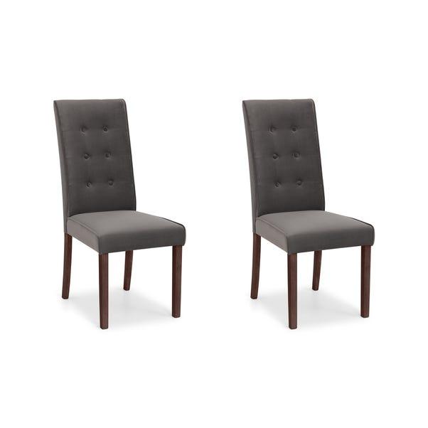 Madrid Set of 2 Dining Chairs Grey Velvet Grey