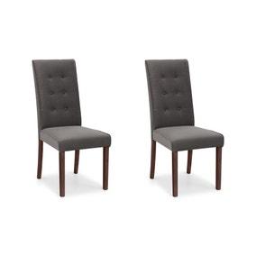 Madrid Set of 2 Dining Chairs Grey Velvet