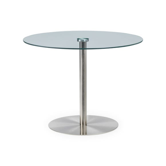 Milan Round Glass Table Silver