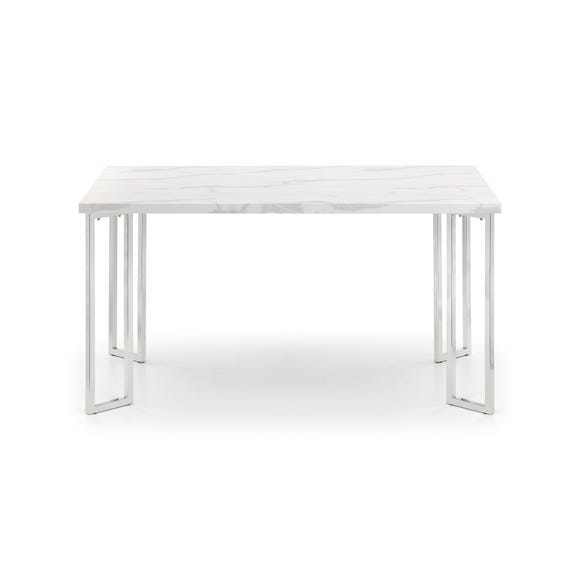 Positano Marble & Chrome Dining Table Silver