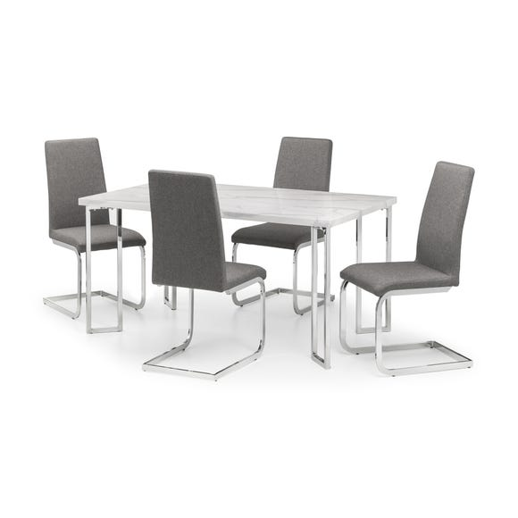 Positano Dining Table & 4 Roma Chairs Silver