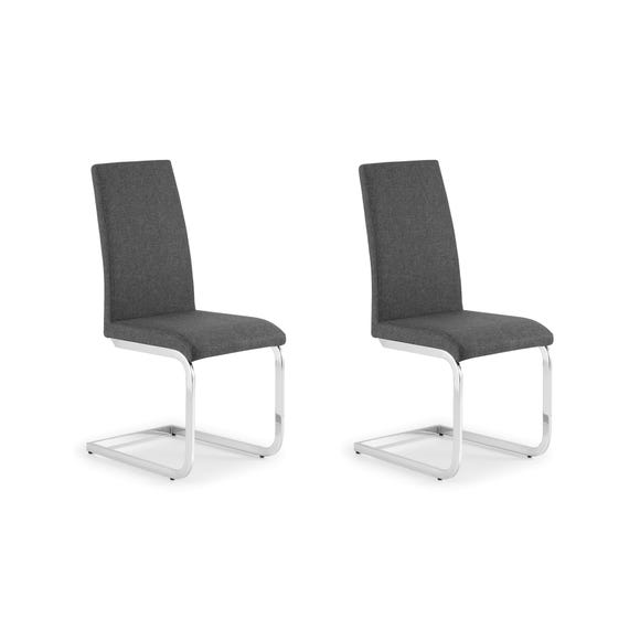 Roma Set of 2 Dining Chairs Grey PU Leather Grey