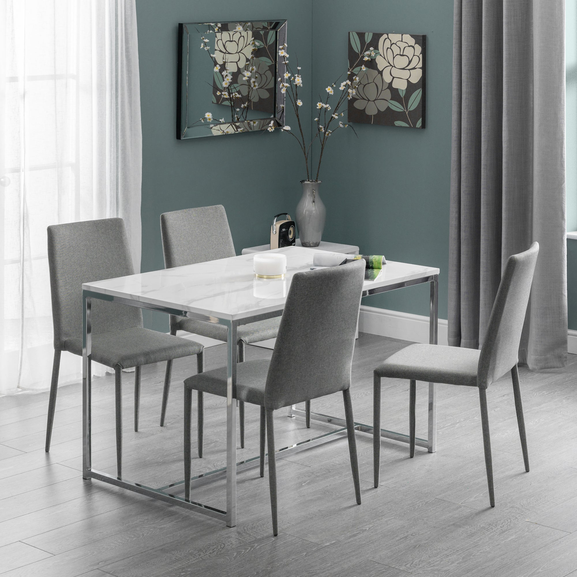 Dunelm Scala Dining Table & 4 Jazz Grey Chairs Silver |