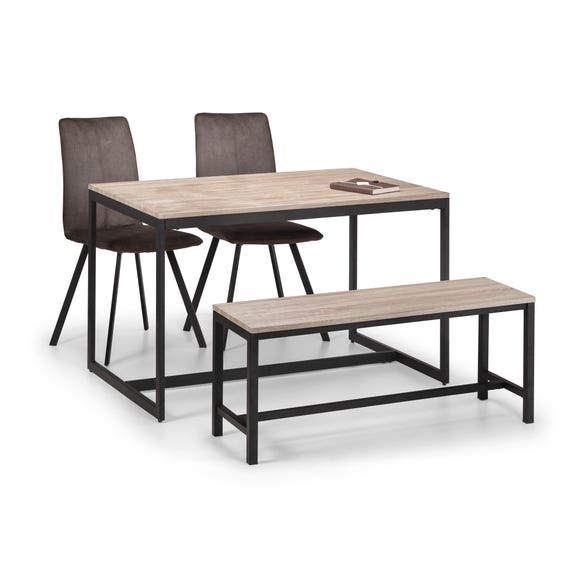 Tribeca Dining Table, Bench & 2 Monroe Chairs Black