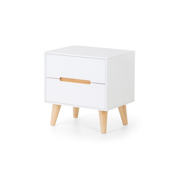 Alicia 2 Drawer Bedside Table White