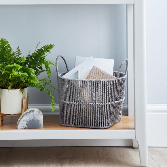Small Grey Woven Storage Basket Grey