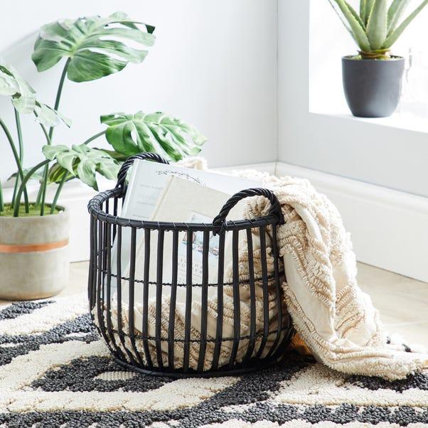 Wicker Black Storage Basket Black