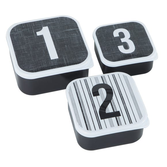 Pack of 3 Monochrome Snack Lunch Boxes Black and White