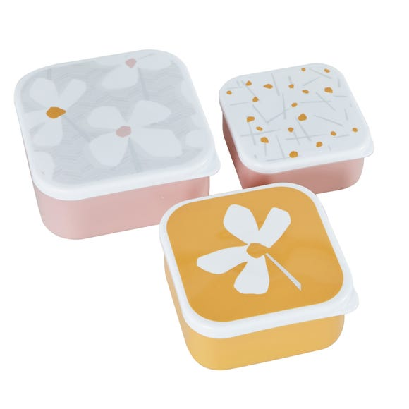 Pack of 3 Floral Snack Lunch Boxes MultiColoured