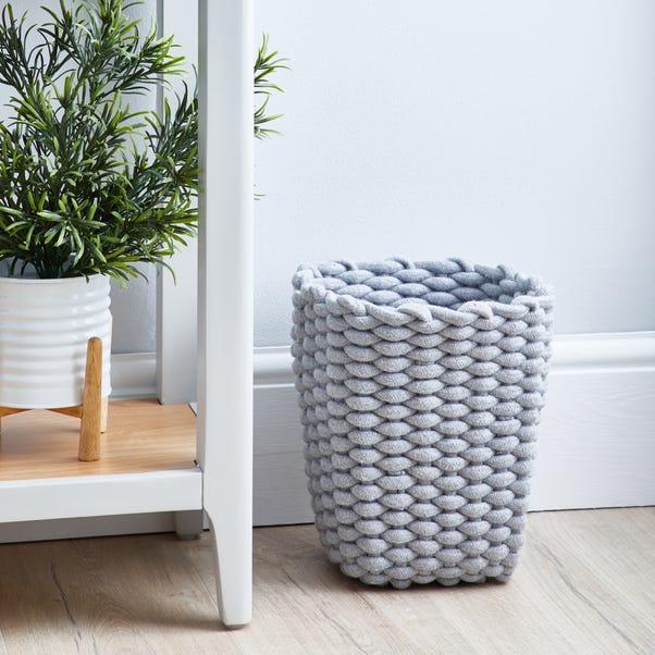 Grey Knitted Waste Paper Bin
