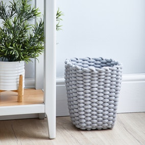 Grey Knitted Waste Paper Bin