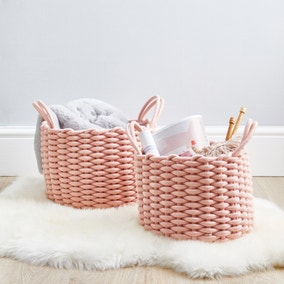 Set of 2 Blush Pink Knitted Storage Baskets