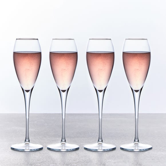 Set of 4 225ml Champagne Flutes Clear